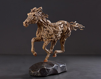 A Thoroughbred gallops along Long dead driftwood on a stainless steel armature mounted on a solid marble base 1/4th actual size