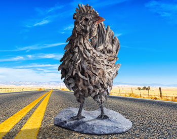 A Chicken crosses the Road Age old hardwood assembled onto a stainless steel armature mounted on a reinforced marble base This sculpture is suitable for both indoors and out Edition of 8