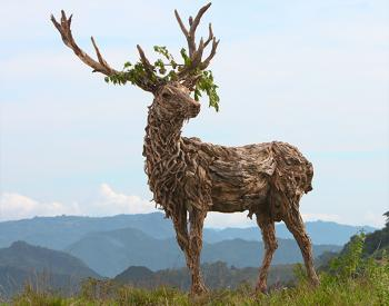 A driftwood and stainless steel sculpture of the Emperor stag