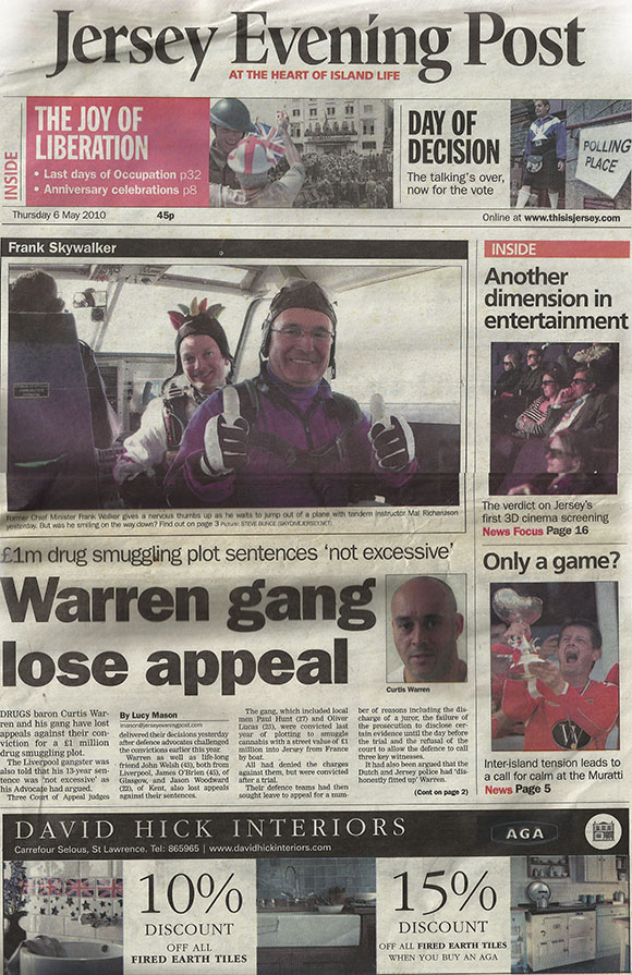 Front Page of Jersey Post 6 May 2010